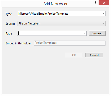 Add New Asset window