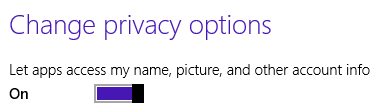 Privacy options: Allow logon information usage
