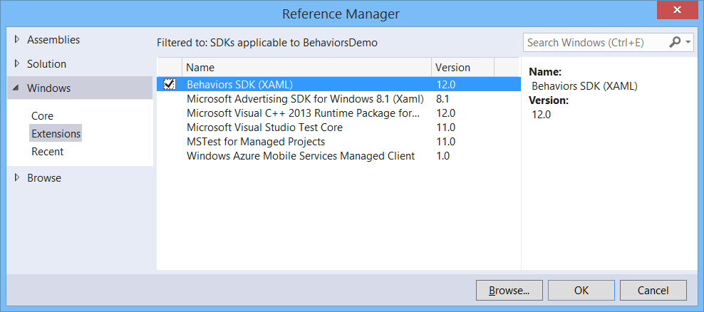 Add a reference to the Behaviors SDK