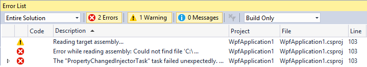 Visual Studio's Error List window