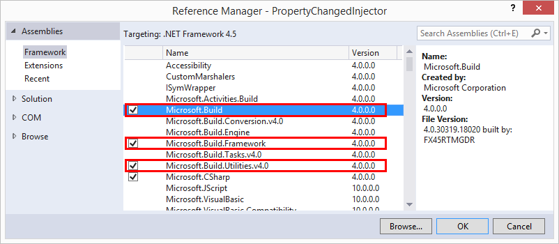 References necessary for MSBuild tasks